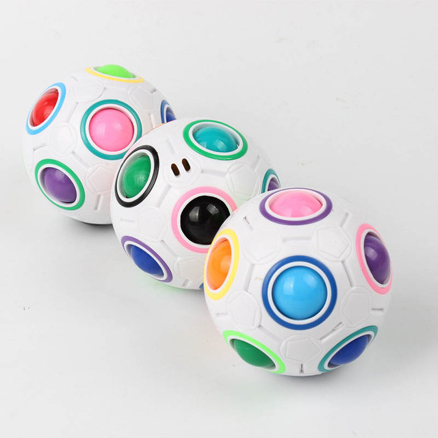 Creative Funny Antistress Figet Toy Adult Stress Reliever Rainbow 3D Magic Ball Football Cube Puzzle Kids Color Educational Toys 4