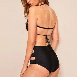 Moda bikini 2020 kobiet Sexy stałe wycięty strój kąpielowy podział strój kąpielowy strój kąpielowy strój kąpielowy strój kąpielowy 5