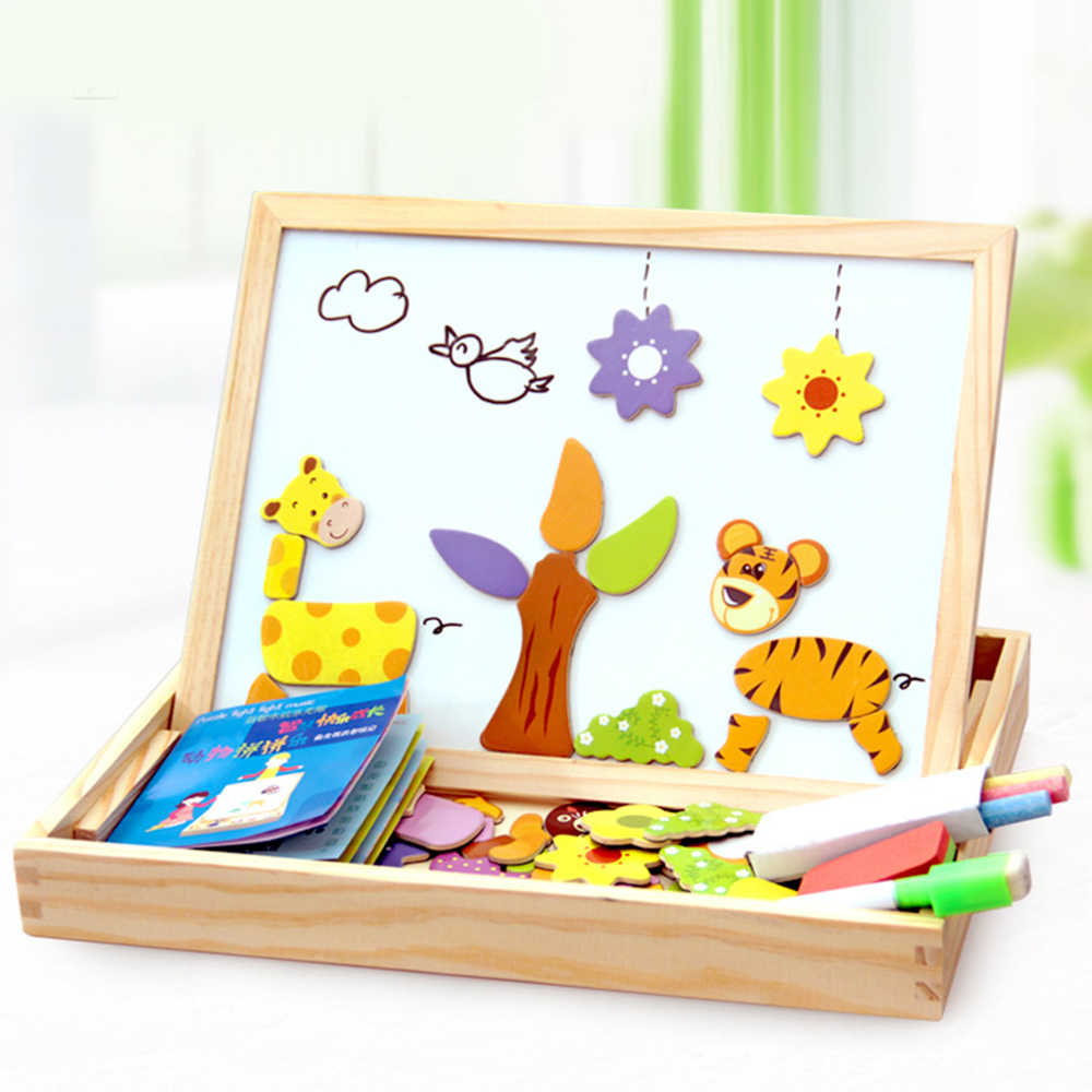 100+Pcs Wooden Magnetic Puzzle Toys Children 3D Puzzle Figure/Animals/ Vehicle /Circus Drawing Board Kids Educational Games