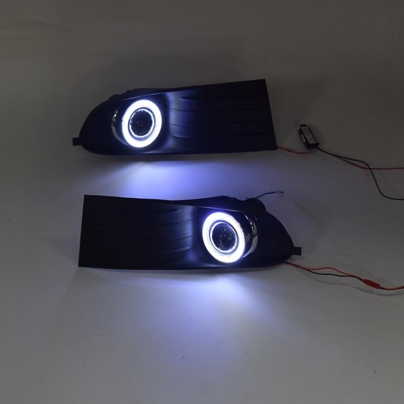 LED Daytime Running Light Fog Lamp 12V Car Running Lights With Angel Eyes For Dodge Journey 2009-2011