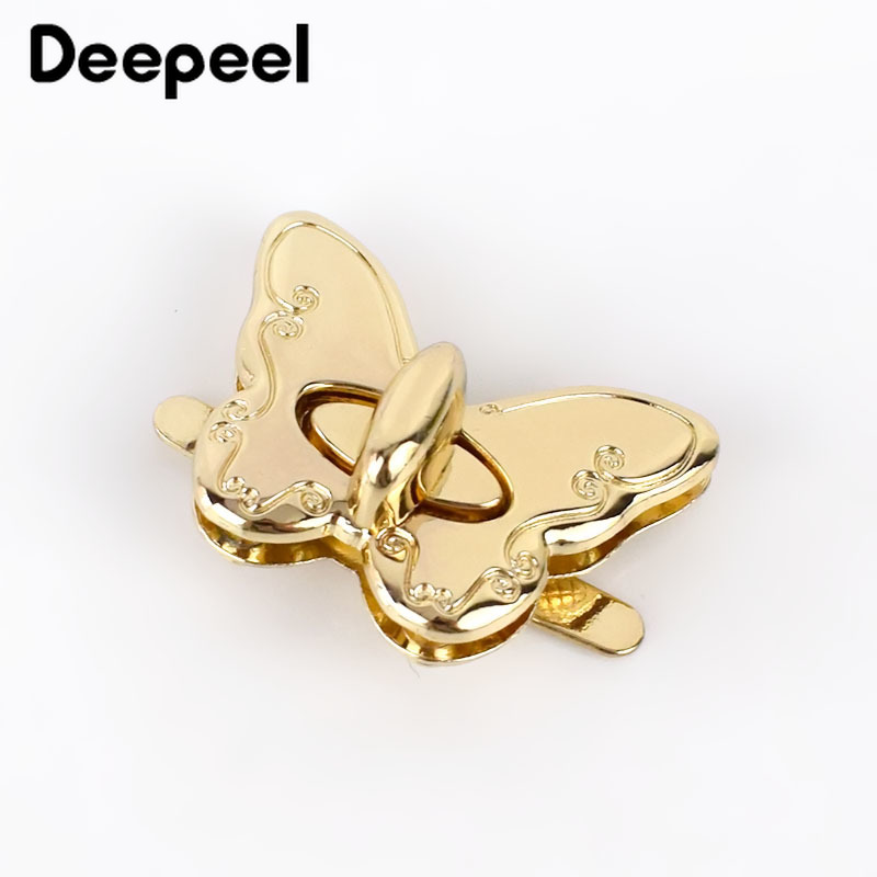 Deepeel 2/4pcs Handbag Metal Locks Buckle Butterfly Twist Turn Lock Snap For Purse Making DIY Replacement Clasp Closure BF308