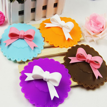 New Sale 10.5cm Cute Anti-dust Silicone Cup Cover Silicone Lovely Bowknot Cup Cover Coffee Suction Seal Lid Cap 5Colors
