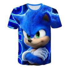 2020 verão 3d meninos casuais roupas sonic t camisa impresso crianças roupas verão t camisa moda rua dos desenhos animados camiseta