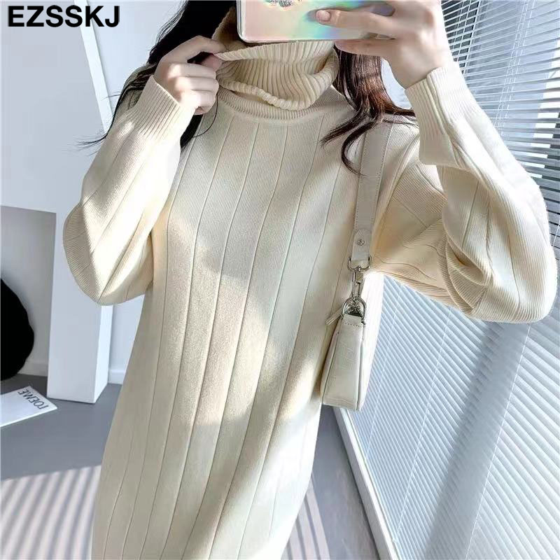 2021 Autumn Winter long thick Sweater Dress Women turtleneck long Sleeve straight maix Dress female girl warm long dress 1