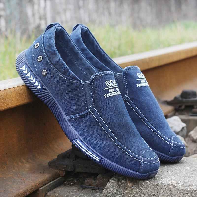 Moda denim sapatos de lona masculino verão tênis deslizamento em sapatos casuais respirável mocassins chaussure homme zapatos de hombre