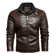 Autumn and Winter Men's Plus-size Casual Style Stand-up Collar Motorcycle Retro Zip Pocket PU Fleece Warm Men's Leather Jacket