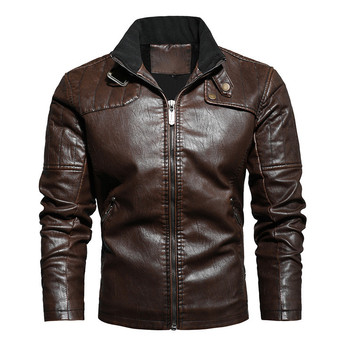 Autumn and Winter Men's Plus-size Casual Style Stand-up Collar Motorcycle Retro Zip Pocket PU Fleece Warm Men's Leather Jacket цена 2017