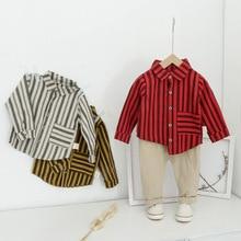 цена на 2019 New Autumn Boys Stripe Clothes Suit Fashion Leisure Plaid Shirt Coat Trousers Two-Piece Costume Outfits Kids Clothes
