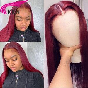 Image 3 - KRN 99J Ombre Pre 뽑은 13x4 레이스 정면 인간의 머리카락과 가발 베이비 헤어 스트레이트 레미 헤어 브라질 레이스 가발 180 밀도