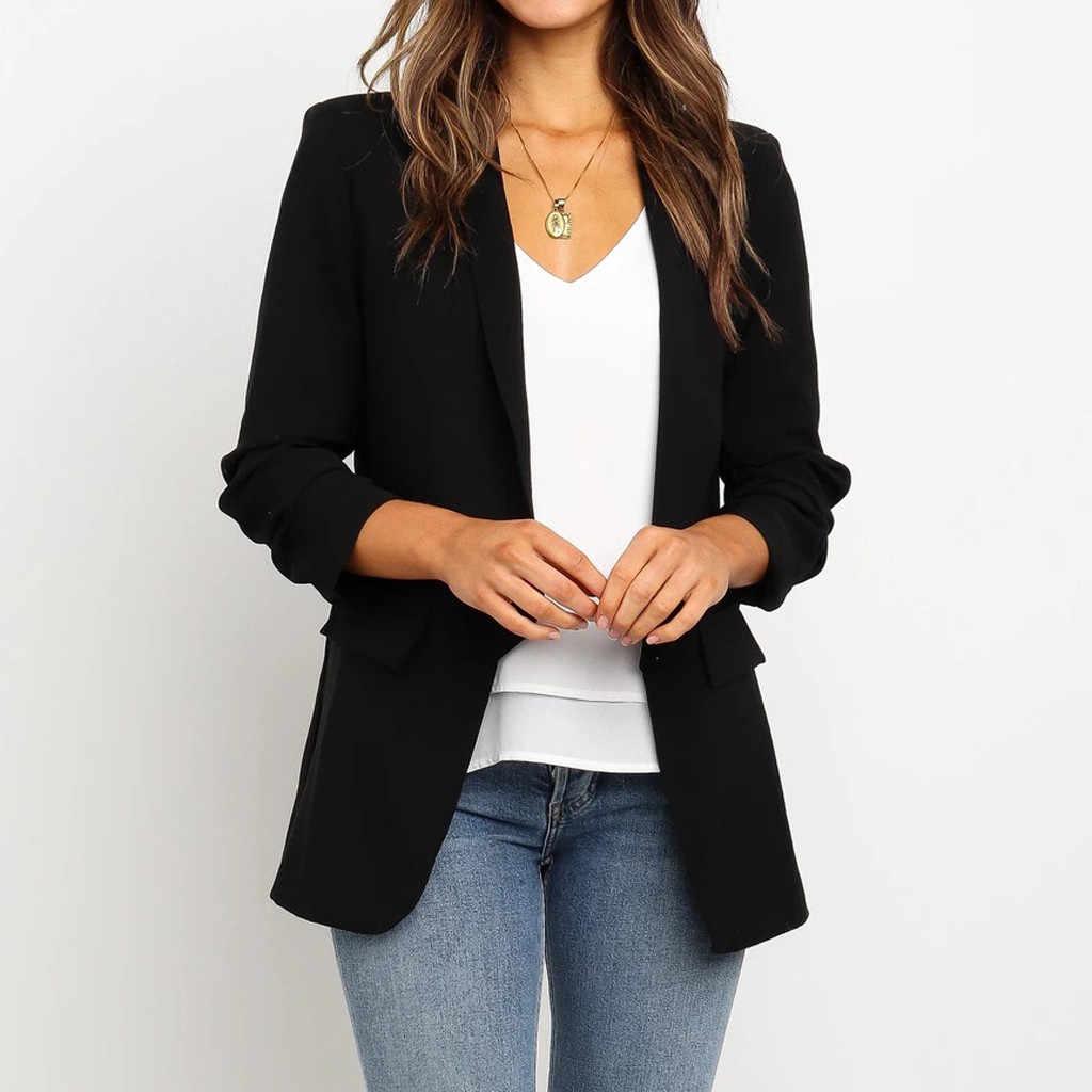 秋の冬のコート女性 2019 カジュアルルースブレザートップ長袖固体ジャケット女性の事務服コート女性のジャケット