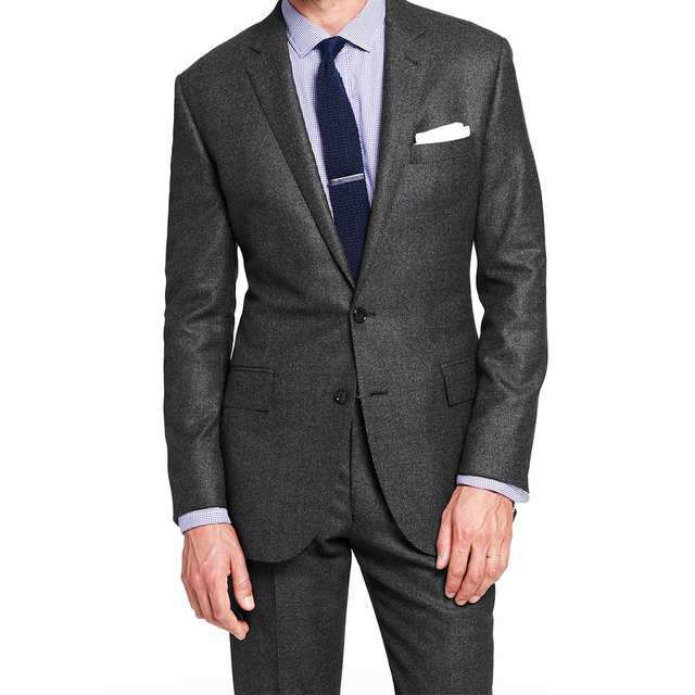 Traje de cabeza de nailon gris oscuro para hombre, traje de boda a medida, con patrones, novedad de 2020