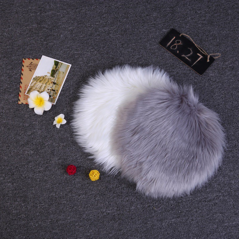 Rug Round Faux Fur Chair Cover Seat Cushion Area Rug  For Living Room Bedroom Sofa Dormitory Home Decor 13.7 Inch New