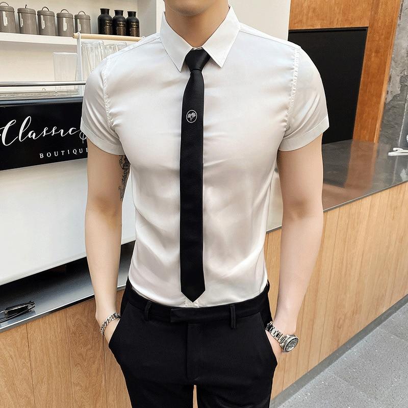2020 Summer Men Shirt White Business Formal Dress Shirts Short Sleeve Casual Slim Fit Streetwear Social Blouse Chemise Homme 4XL