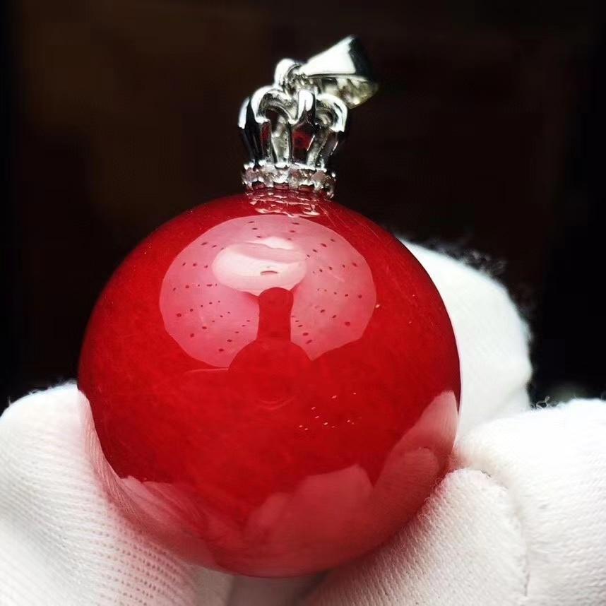 21mm Natural Red Rutilated Quartz Pendant Gemstone Big Sphere Ball Round Crystal Healing Stone Pendant Genuine AAAAA