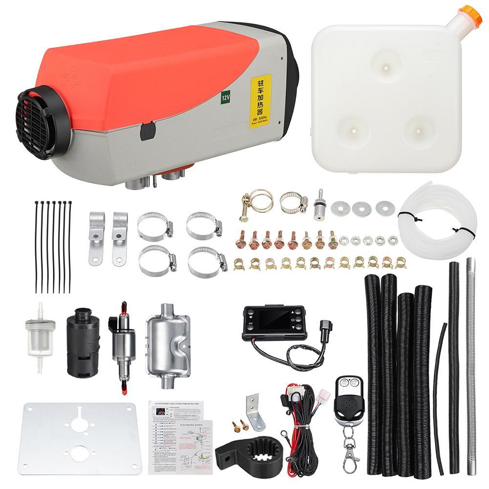 Calentador de aire Diesel 12v 5KW ventilador de calefacción calentador de coche limpieza de la nieve y descongelador de vidrio del coche con pantalla LCD + silenciador de Control remoto