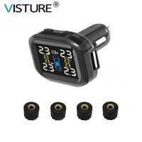 Visture TPMS With 10W USB Output Car Tire Pressure Alarm Monitor System Tyre Monitoring External Internal Sensor T05W T07W