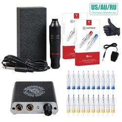 مجموعة كاملة للمبتدئين الوشم مجموعة موتور القلم آلة USA بندقية امدادات الطاقة الإبر