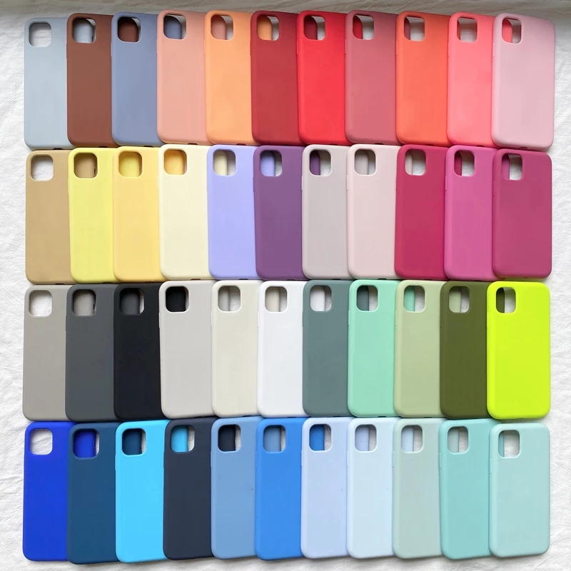 Luxury Original Official Silicone Case For iPhone 11 12 Pro MAX SE 2020 XR X 7 8 Plus Cases For iPhone 13 mini XS Max Full Cover