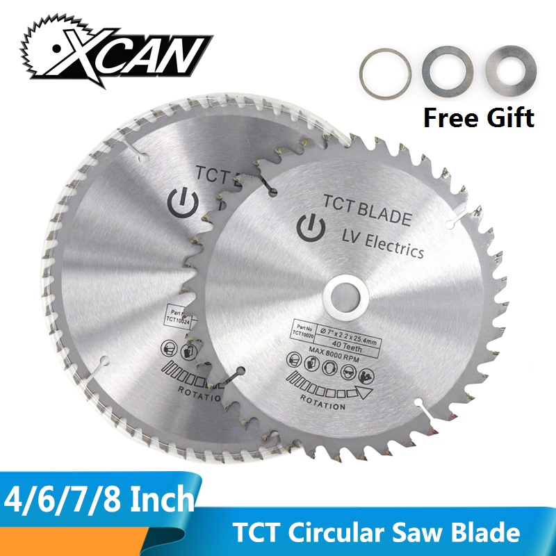 XCAN 1pc 4'' 6'' 7'' 8'' Wood Saw Blade 30/40/60T TCT Circular Saw Blade For Cutting Wood Plastic Carbide Cutting Disc
