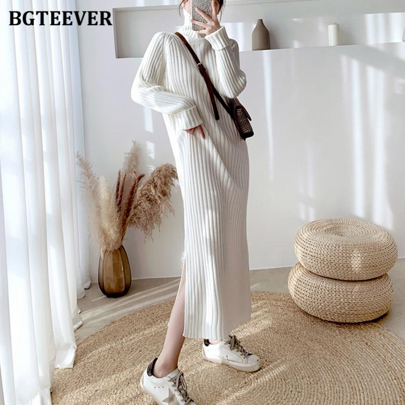Повседневное теплое женское платье свитер BGTEEVER с высоким воротником, осенне зимнее плотное свободное женское вязаное платье с разрезом по бокам, платья 2020|Платья| | АлиЭкспресс
