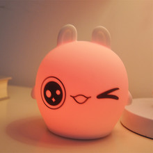 Touch Sensor Colorful Rabbit LED Night Light USB Rechargeable Silicone Bunny Lamp Bedroom Bedside Lamp for Children Baby Gift