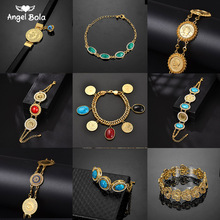 Never Faded Blue Evil Eye Crystal Charm Allah Bracelets for Islam Women Muslim Jewelry Turkish Blue Eye Bracelet Gold Color
