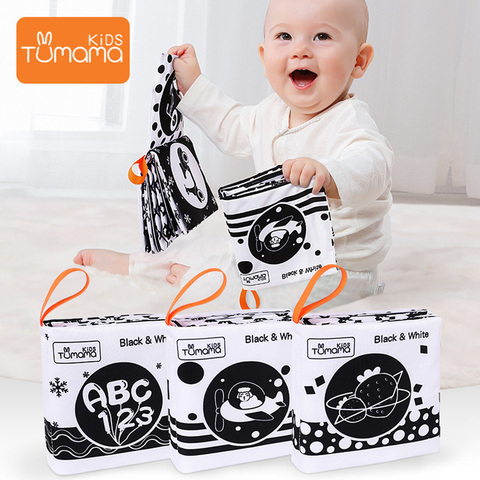 3 pcs livros de pano de bebe aprendizagem precoce brinquedos educativos preto branco pano macio