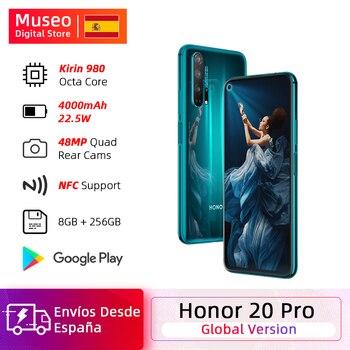 Перейти на Алиэкспресс и купить Глобальная версия смартфона Honor 20 Pro, 8 Гб 256 ГБ, Восьмиядерный процессор Kirin 980, четыре камеры 48 МП, сотовый телефон 6,26 дюйма, 4000 мАч, Google Play NFC