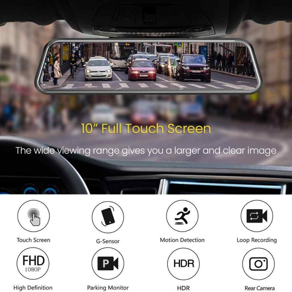 10 Polegada tela de toque espelho retrovisor do carro câmera traço espelho fhd dvr carro espelho lente dupla com câmera visão traseira gravador dashcam