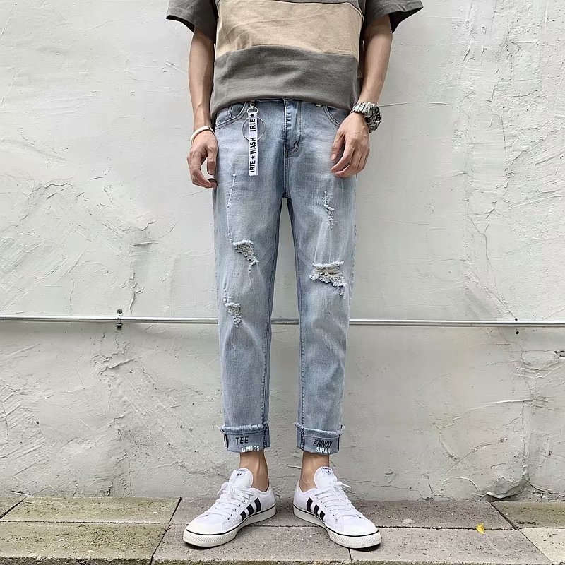 2019 Spring Summer Korean-style Popular Brand Cool Trend With Holes Capri Jeans Men's Loose-Fit Pencil Pants Pants Men'S Wear