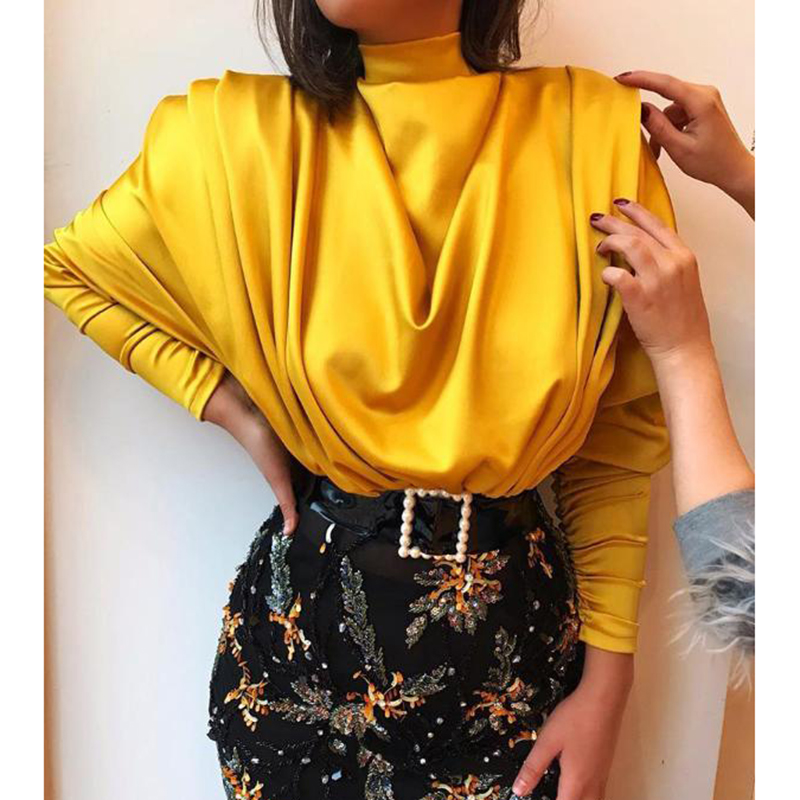 Turtleneck long sleeve satin   blouse     shirt   women Ruched solid color yellow   blouse   Autumn 2019 elegant womens tops and   blouses