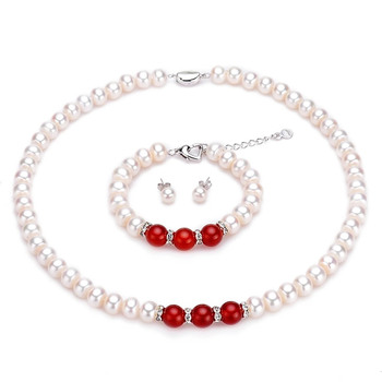 Natural Freshwater AAAA Pearl Set Earring / Necklace / Bracelet Hoe Round Beads 925 Silver Buckle Women's Jewelry Holiday Gifts