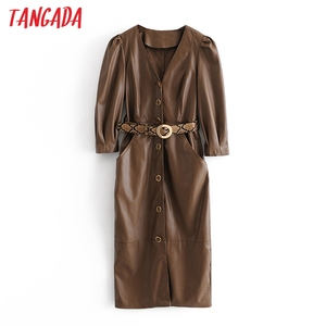 Tangada 2020 Autumn Winter women brown faux leather dress with leopard belt long sleeve ladies midi dress vestidos 3H728