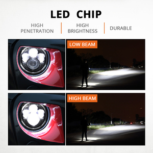 "Image 2 - ตระเวน7 ""LEDไฟหน้า60W LED High Beam LED H4 Halo Angel Eye DRL Amber Turnสัญญาณสำหรับjeep Wrangler JK TJ Land Rover Harley"