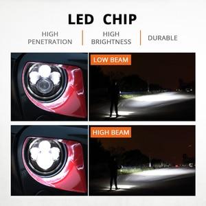 Image 2 - مصابيح أمامية للدراجة النارية 7 بوصة, ضوء LED منخفض و مرتفع الشعاع H4 HALO، بإشارات الدوران، و قدرة 60 واط، لدراجات جيب ورانجلر جي كي، تي دجي، لاند روفر، و هارلي.