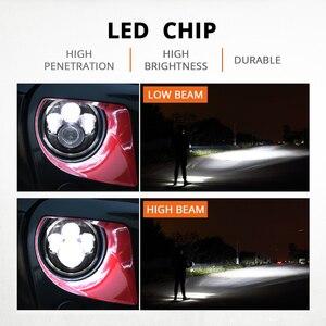 "Image 2 - Partol 7"" LED Headlights 60W High Low Beam LED H4 Halo Angel Eye DRL Amber Turn Signal for Jeep Wrangler JK TJ Land Rover Harley"
