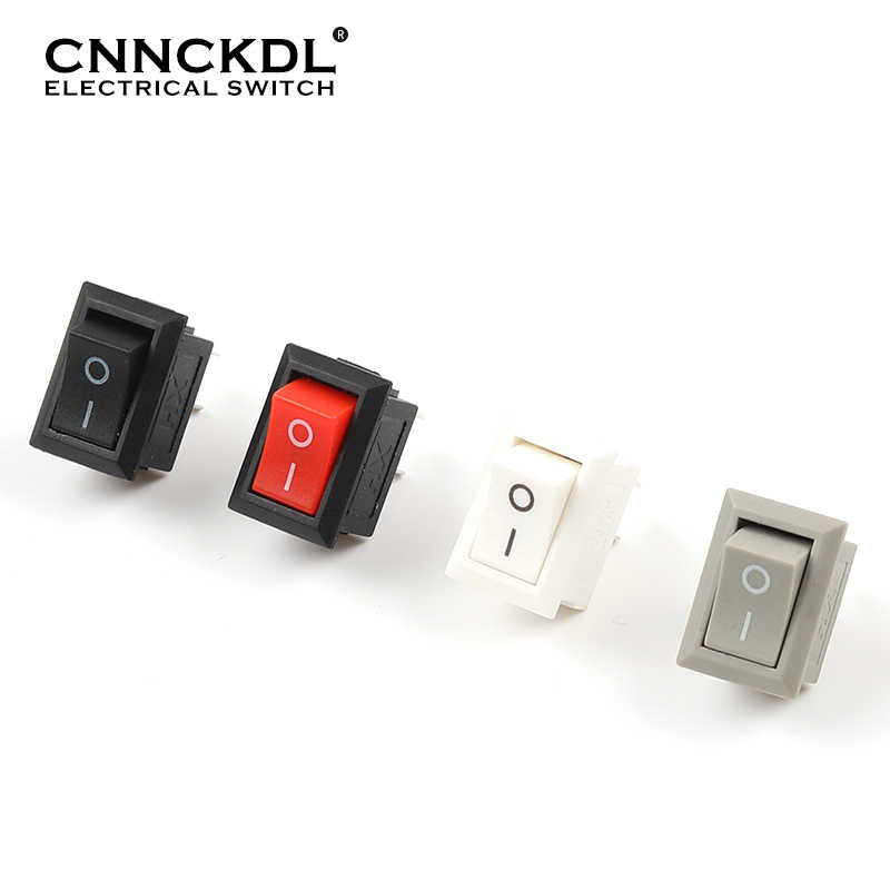 10 Buah/Banyak KCD11 2 Pin 10X15 Mm Mini Saklar Tombol Tekan SPST 3A 250V AC Snap-di On/Off Perahu Rocker Switch 1 Hitam Merah Putih Abu-abu