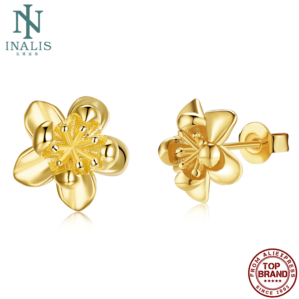 INALIS Stud Earrings For Women Imitation Gold Plated Romantic Flower Shape Girl Earring Anniversary Fashion Jewelry New Arrival