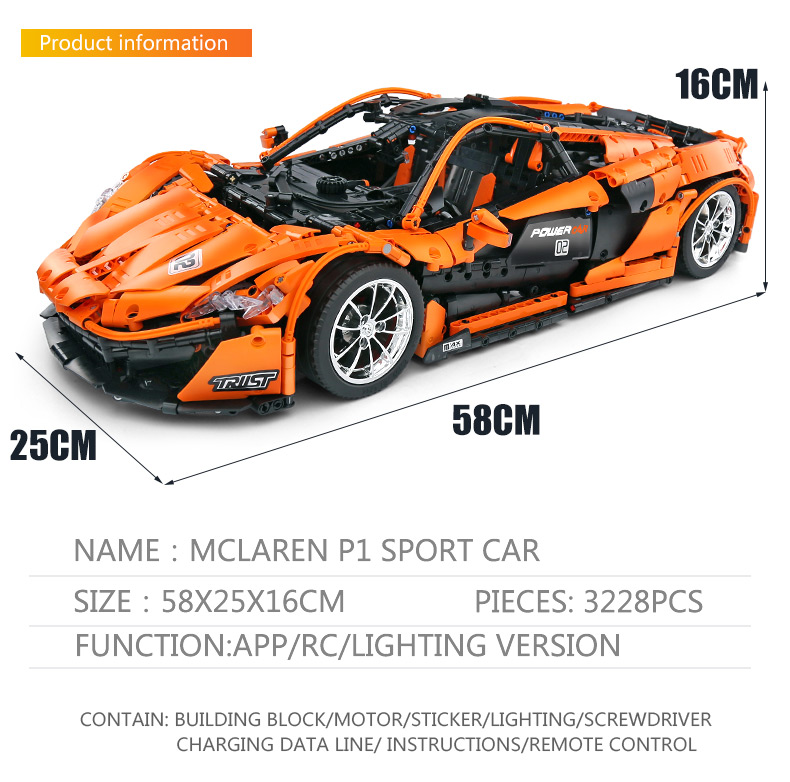 1 to 8 ratio 13090 Technic Series McLaren P1 Orange Racing Car Set APP RC Model Building Blocks Power Motor Function Toys 20087 39