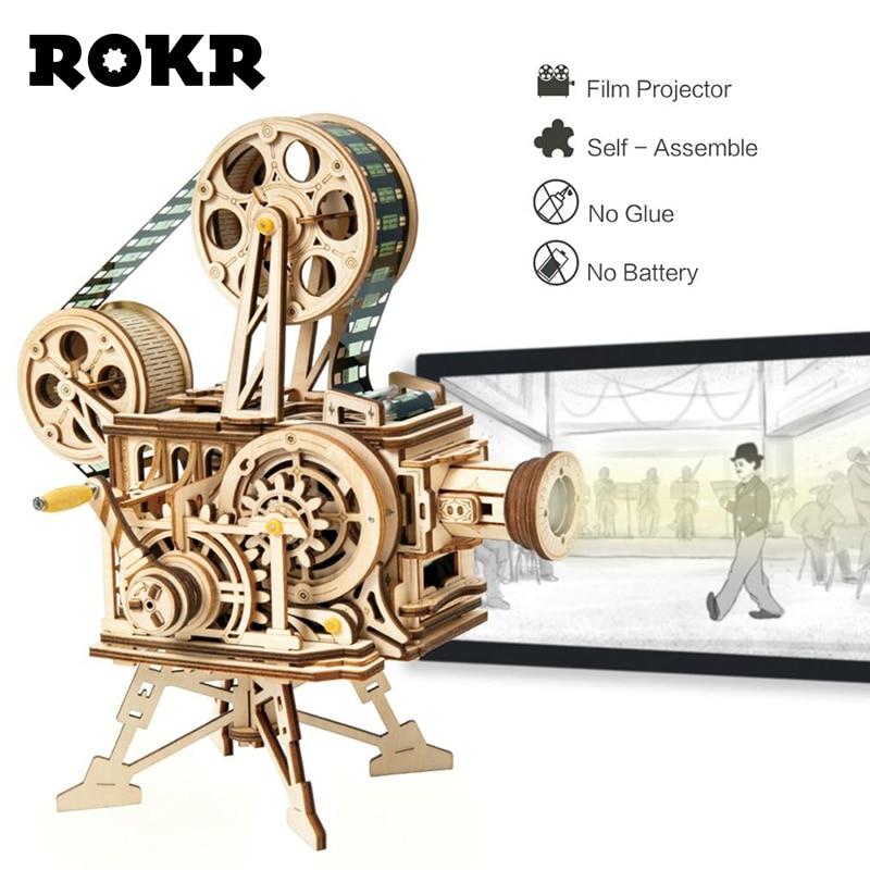 Oyuncaklar ve Hobi Ürünleri'ten Modeli Yapı Setleri'de ROKR el krank projektör klasik Film Vitascope 3D ahşap bulmaca modeli yapı blok oyuncaklar çocuk yetişkin için LK601'da  Grup 1