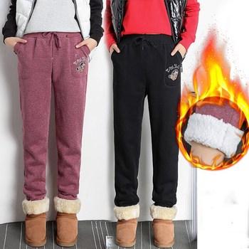 2021 jesienno-zimowa kobiety pluszowe spodnie dresowe z polaru dorywczo grube aksamitne luźne kaszmirowe spodnie dresowe z kaszmiru spodnie dresowe tanie i dobre opinie NoEnName_Null COTTON CASHMERE spandex Wiskoza Pełna długość CN (pochodzenie) Zima D01030 Stałe Na co dzień Spodnie typu Harem