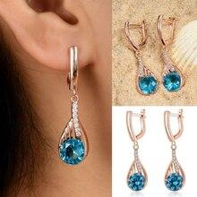 YLWHJJ new women Elegant Tear Drop Rhinestone Earrings Geometric shape girl blue crystal fashion jewelry