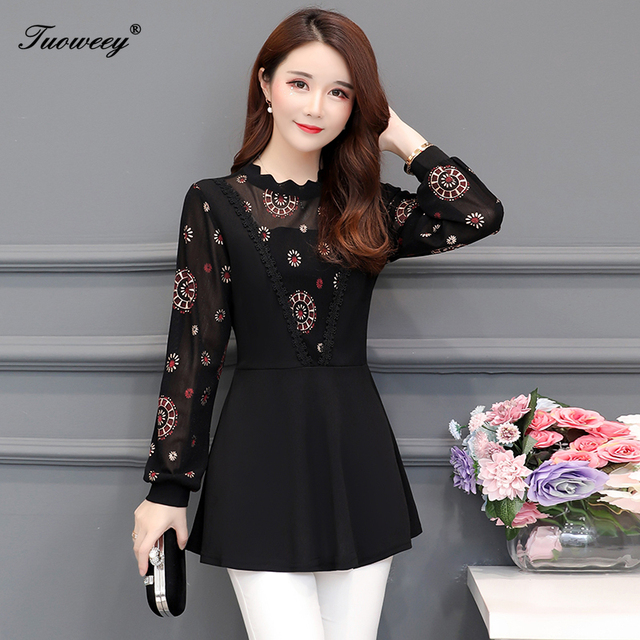 2019 New Arrival Fashion autumn long sleeve floral casual Shirt Female Casual see throughPlus Size elegant Printed Blouse 3