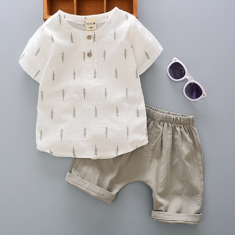 2021 Toddler Boys Polo Shirt Sets Summer Cotton Short Sleeves Boy T Shirt + Shorts Casual Suit Children Girls Linen Outfits 1-5Y