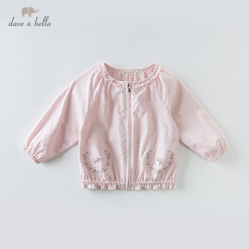 DB13375 dave bella spring baby girls cute floral embroidery zipper coat children tops fashion infant toddler outerwear image