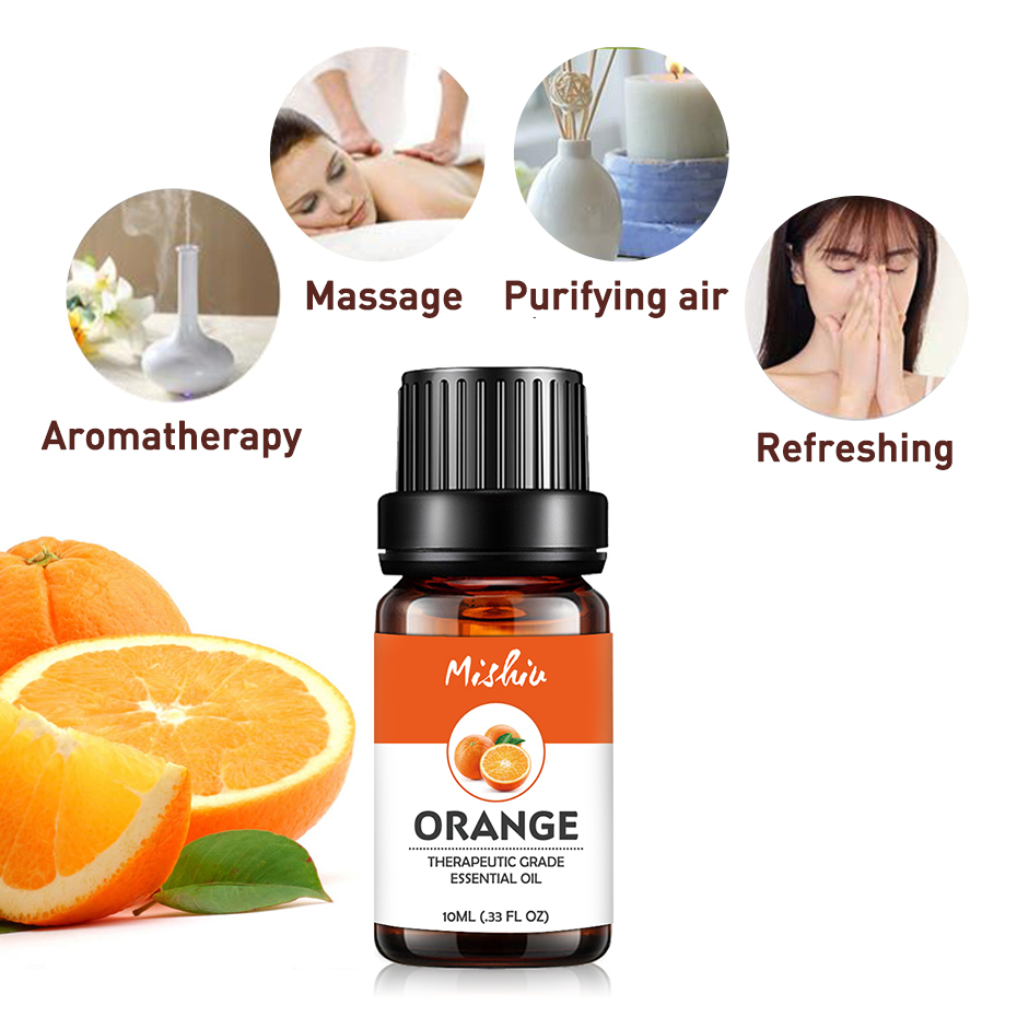Mishiu Natural Essential Oils For Aromatherapy Diffusers Orange Clary Sage Lemon Peppermint Lavender Geranium Essential Oil 10ML