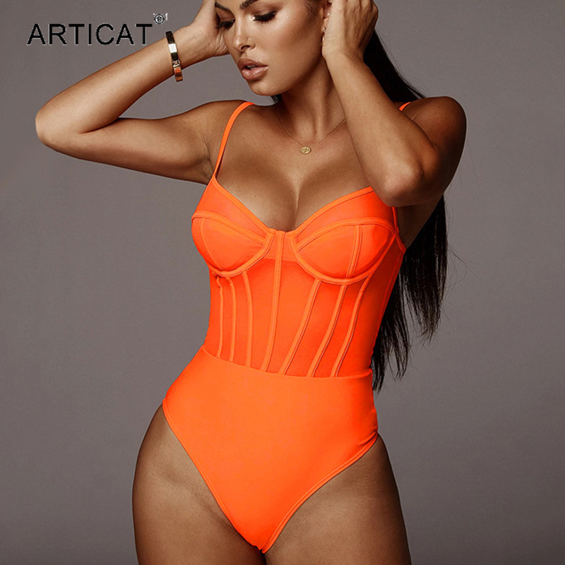 Articat Sexy Mesh Patchwork Sheer Bodysuit Woman Spaeghetti Strap Neon Bodycon Rompers Womens Jumpsuit Summer 2020 Clothes