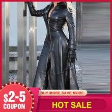 Faux Leather długa kurtka sukienka jesienno-zimowa damska kurtka płaszcz moda Plus rozmiar Goth stojak kołnierz czarna PU sukienka damska