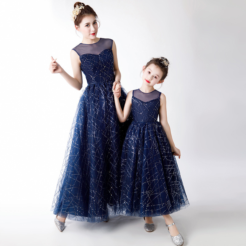 Beauty-Emily O Neck Flower-Girl Dresses Long Sequins Tulle Kids Party Dress Prom Gowns For Mother Daughter Vestido De Noche
