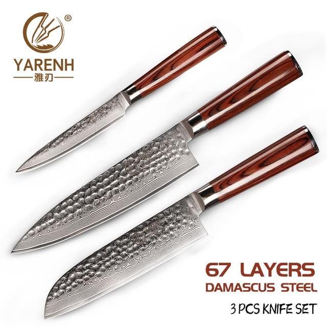 YARENH 3 sztuk zestaw noży kuchennych, japoński stali damasceńskiej Chef zestaw noży, drewno Pakka uchwyt, ostre narzędzia kuchenne z pudełko